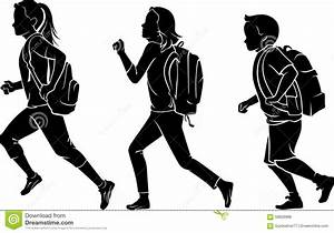 Kids With Backpack Rushing To School Stock Vector - Image ...