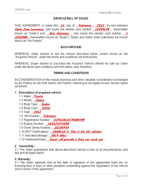 example of bill of sale vehicle bill of sale printable carsut understand
