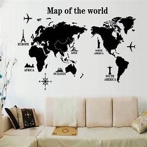 Carte Du Monde Deco Murale : diy carte du monde sticker mural en vinyle d coration de ~ Dailycaller-alerts.com Idées de Décoration