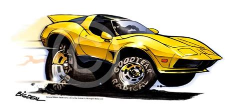 Dave Deal Muscle Car Cartoon T-shirt #4153 C3 Corvette