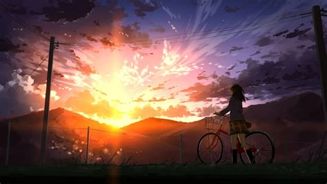 Anime Scenic Wallpaper - 1920x1080 anime bicycle sunset scenic 1920x1080 sunset