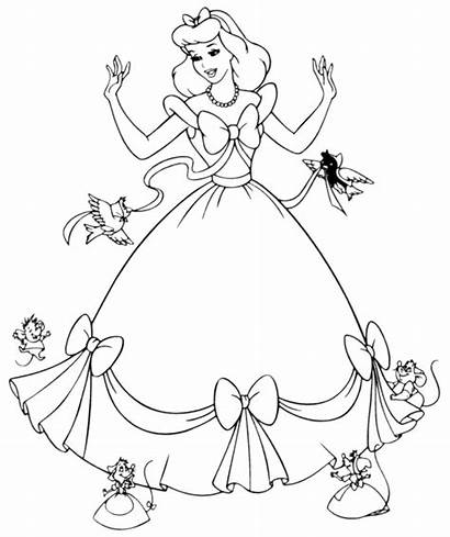 Cinderella Coloring Disney Pages Princess Printable Colouring