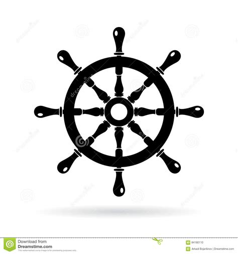 Boat Driving Wheel by Boat Steering Wheel Vector Icon Stock Vector