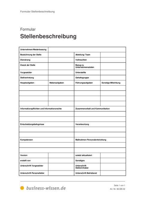 stellenbeschreibung management handbuch business wissende