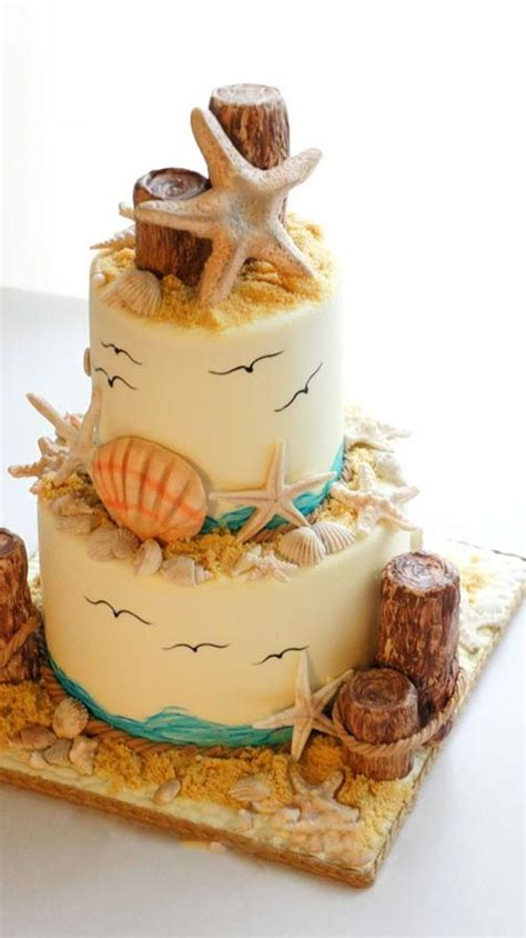 spectacular designs  beach wedding cake