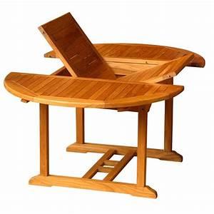 Table De Jardin Ronde En Bois : table de jardin ronde rallonge en teck huil 120 60 ~ Dailycaller-alerts.com Idées de Décoration