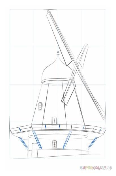 Windmill Drawing Draw Step Tutorials Windmills Drawings