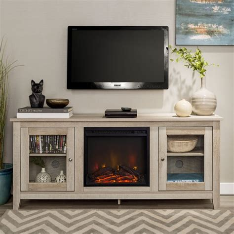 wood media tv stand console  fireplace white oak