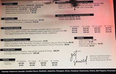 menu   parlor pizzeria restaurant rancho