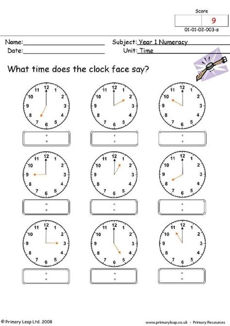 clock worksheets for year 1 time 1 primaryleap co uk