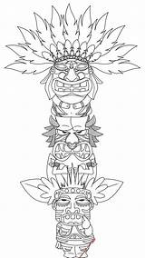 Totem Pole Coloring Pages Printable Colouring Adults Bestcoloringpagesforkids Tiki sketch template
