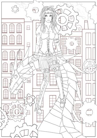 steampunk dragon coloring page  printable coloring pages