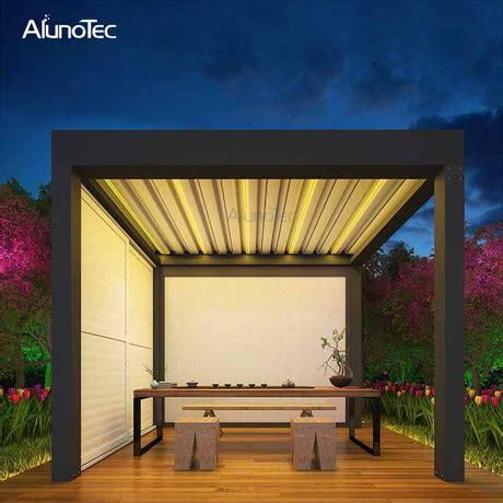 motorized awning folding gazebo louvered roof pergola  led lights buy roof pergola