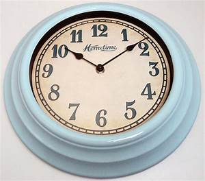 Funky hometime wall clocks 30cm retro blue kitchen wall for Blue kitchen wall clocks