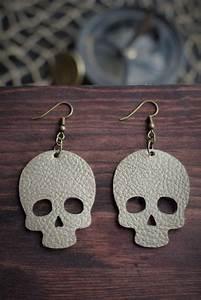 skull leather earrings gold diy leather earrings diy