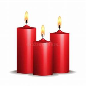 Three Red Burning Candles On White Background. Stock ...