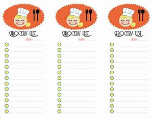 Grocery List And Weekly Meal Menu Options Template Sample