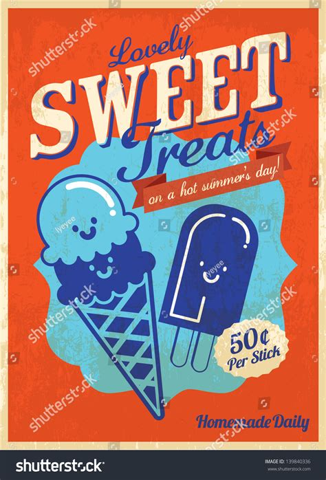 vintage ice cream poster template vectorillustration