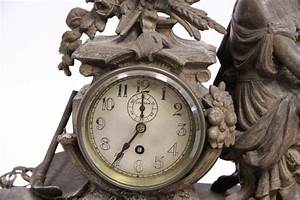 Antique, White, Metal, Chelsea, Mantle, Clock