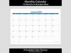 2018 12Month Landscape Calendar – A5 Legacy Templates