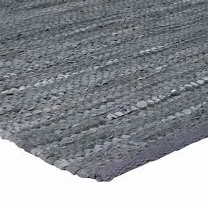 tapis en cuir gris artisanal tisse a plat 55x85cm With tapis tissé gris