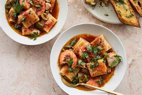 seafood pasta  tomato  crushed olives recipe nyt