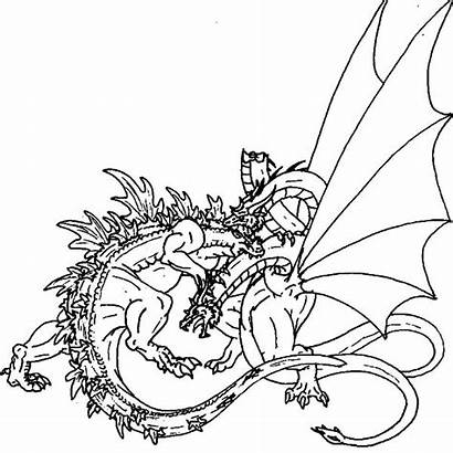 Godzilla Coloring Dragon Pages Fight Dragons Maleficent