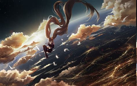 Space Anime Wallpaper - vocaloid space clouds birds floating anime