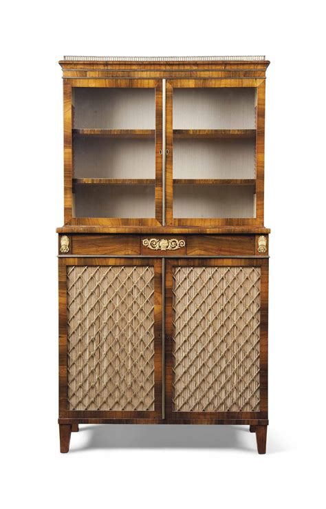 Small Metal Bookcase by A Small Regency Rosewood And Gilt Metal Mounted Bookcase