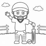 Cricket Coloring Playing Boy Park Pages Print Colouring Printable Template Square Times Cute Illustration Batsman Helmet Wearing Vector Preview sketch template