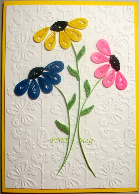 handmade greeting card featuring  trio  simple quilled