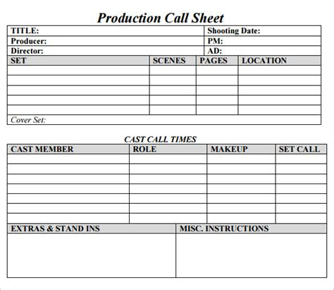 call sheet template 9 sle call sheet templates sle templates