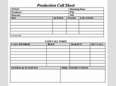 9+ Sample Call Sheet Templates Sample Templates