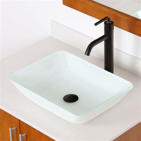 Rectangle Bathroom Sink by Elite 1422 White Rectangle Tempered Glass Bathroom Vessel