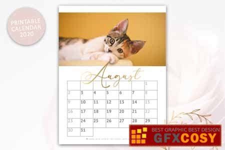 creativemarket printable monthly calendar  cats