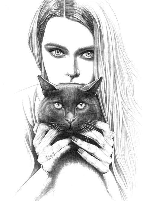 Saatchi Art Lady With Displeased Black Cat Drawing By