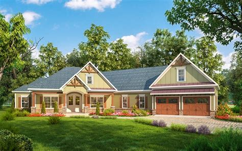 house pla craftsman house plan with angled garage 36032dk