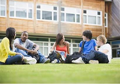 College Teens Students Talking Outside Based Plans