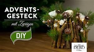 Basteln Mit Zweigen : weihnachtsdeko basteln adventsgesteck mit zweigen how to ~ Watch28wear.com Haus und Dekorationen