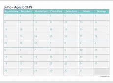 Calendário julho agosto 2019 para imprimir iCalendáriopt