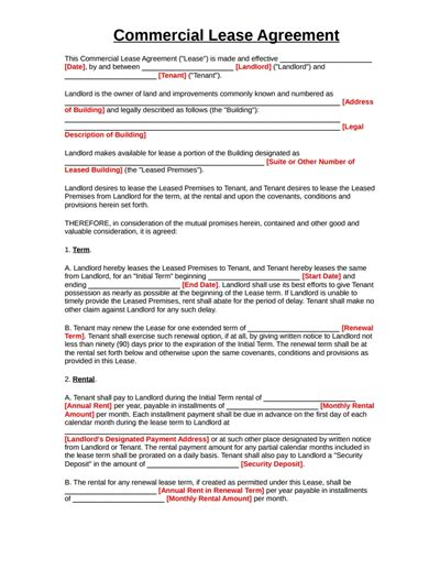 sample commercial lease agreement gtld world congress