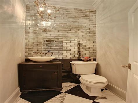 bookcase large subway tile powder room mirrored wall
