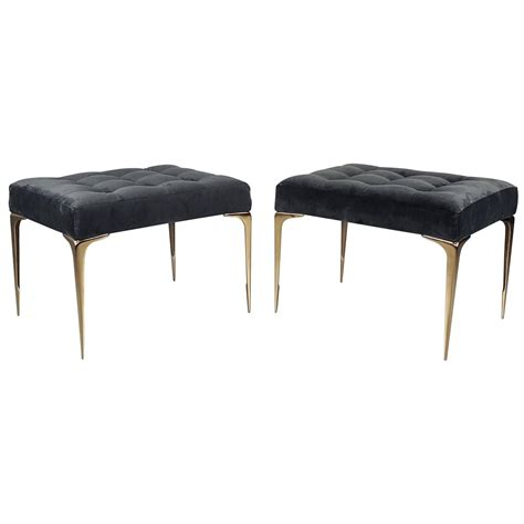 modern ottomans and benches pair of italian modern ottomans or benches with solid