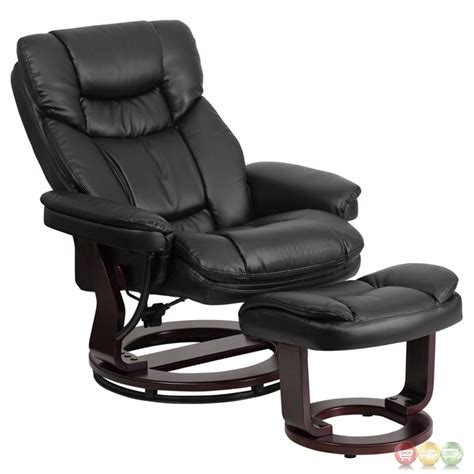 Contemporary Leather Recliner And Ottoman by Contemporary Black Leather Recliner Ottoman W Swiveling