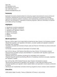Compliance Analyst Resume professional compliance analyst templates to showcase your talent myperfectresume