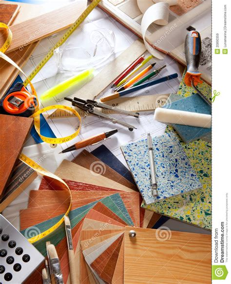 architect desk interior designer workplace stock image