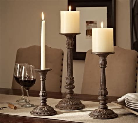 cast bronze candleholder pottery barn