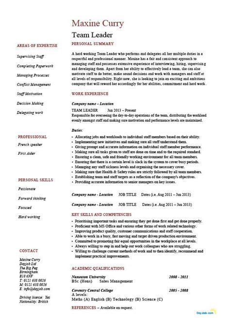 free best resume cover letter exles resume for team leader