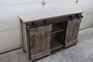 Barn door console forest trek woodwork for Barn door sofa table