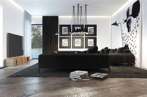 salon canapa noir daco bois déco salon noir et blanc exemples d 39 aménagements